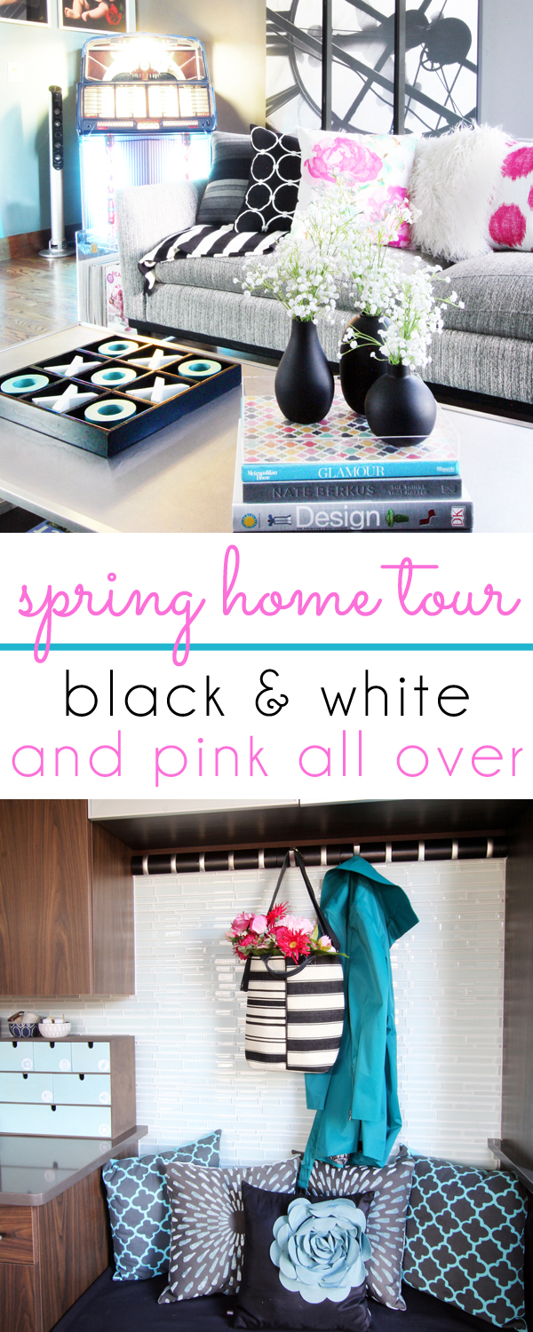 Spring Home Tour black and white stripes and pink