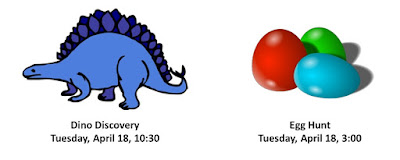 Franklin Public Library: April 18 - Dino Discovery and Egg Hunt