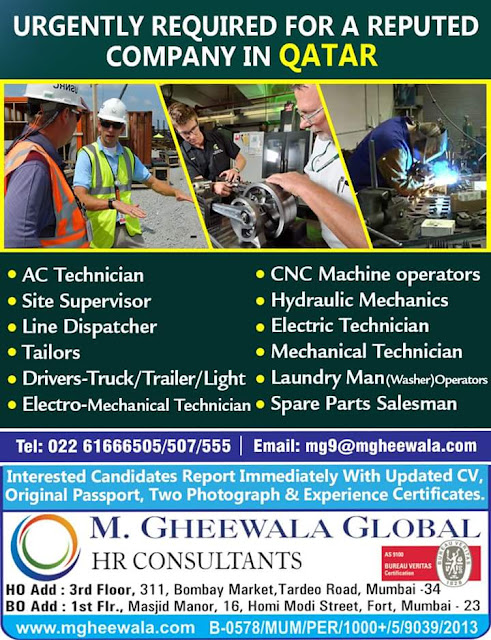Large Number of Job Vacancies in Qatar | Recruitment by M.Gheewala Global HR Consultants Mumbai