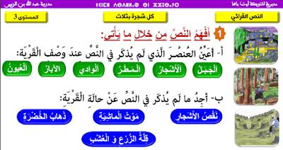 القراءة النص كل شجرة بثلاث  المستوى الثالث