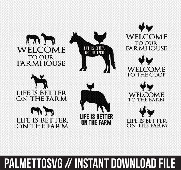 farm collection clip art svg dxf cut file silhouette cameo cricut download
