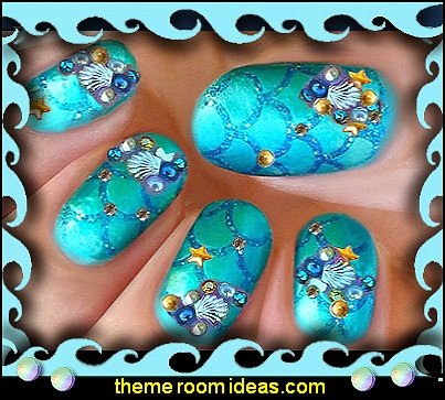 nail art ocean themed nails-nail design-ocean themed decorative nail studs