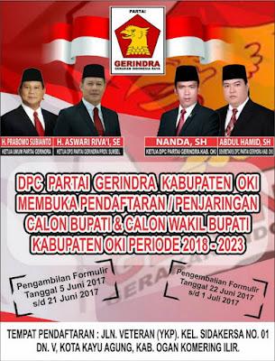 Partai Gerindra OKI Buka Pendaftaran Calon Kepala Daerah
