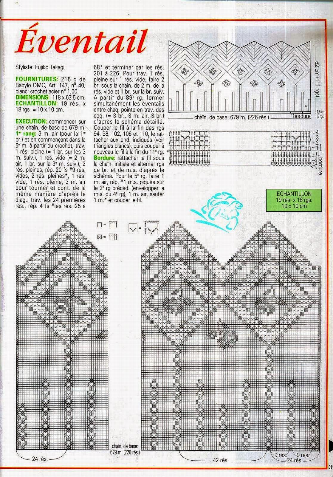 Cortina tejida al crochet  con diagrama y patrones  Crochet y Dos agujas  Patrones de tejido