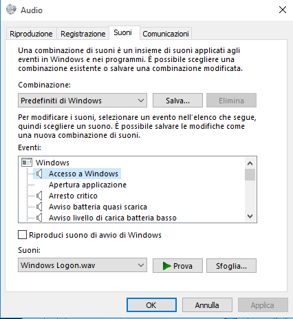 Audio, Accesso a Windows