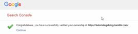 Pemberitahuan verifikasi blog tumblr berhasil sukses