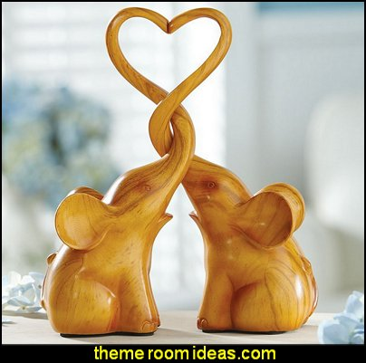 Loving Elephants With Heart Sculpture  wild animal  decorations