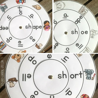 Free sh- digraph word wheels plus links to free ch-, th- and wh- word wheels!
