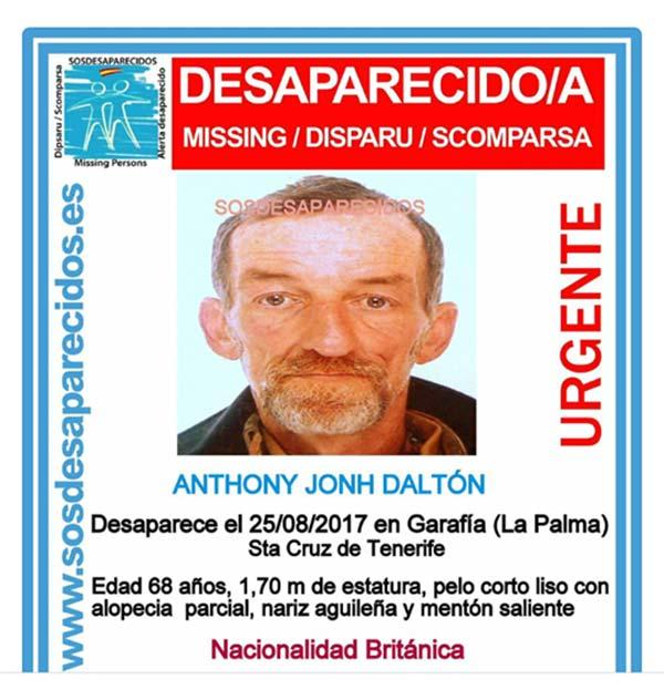 Anthony Jonh, un británico vecino de Garafía, desaparecido en La Palma