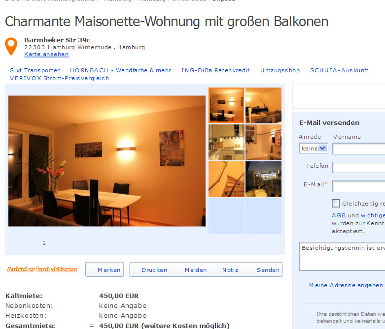charmante maisonette wohnung mit gro en balkonen barmbeker str 39c. Black Bedroom Furniture Sets. Home Design Ideas