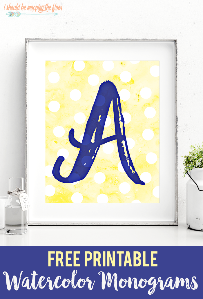 graphic about Free Printable Monogram known as Totally free Printable Watercolor Monograms i really should be mopping