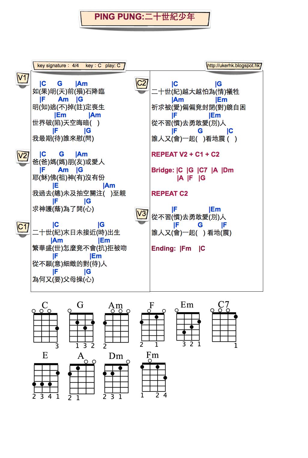 ukulelemania: #73 PING PUNG: 二十世紀少年 Ukulele Chord彈唱譜