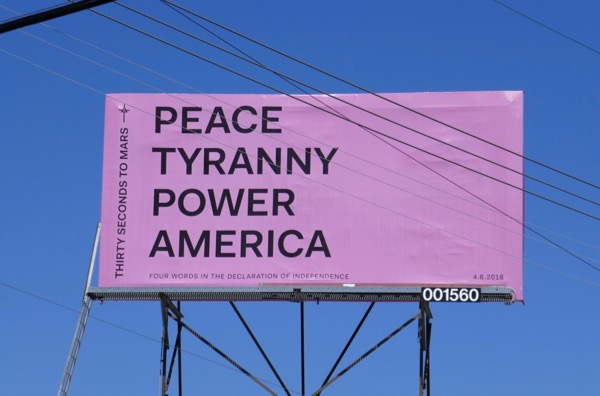 30 Seconds Mars Peace Tyranny Power America billboard