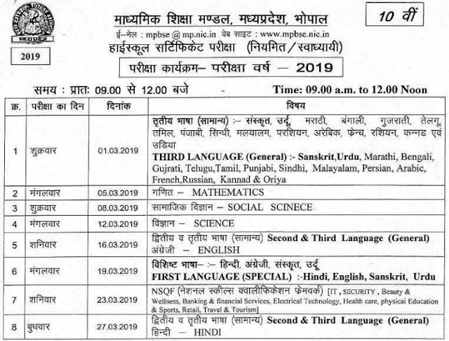MPBSE 10th Class Time Table 2019