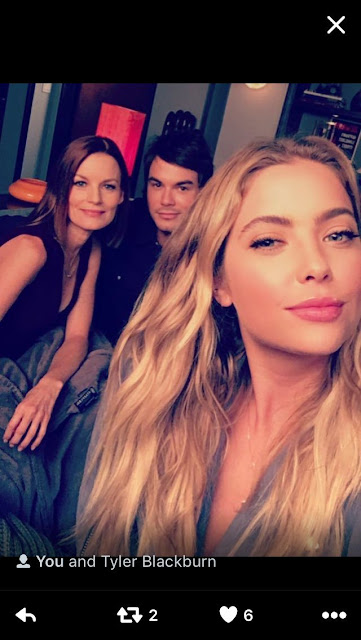 PLL bts 7x17 Ashley Benson (Hanna), Tyler Blackburn (Caleb) and Laura Leighton (Hanna's mom Ashley Marin)