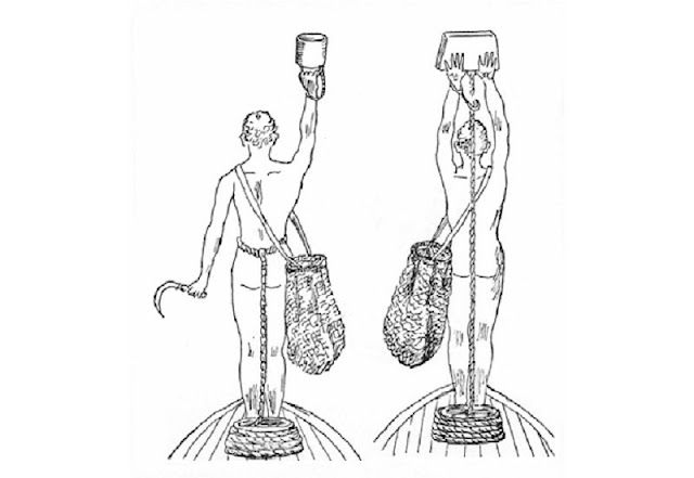 Greek skin divers with scythe, collecting net and scandalopetra