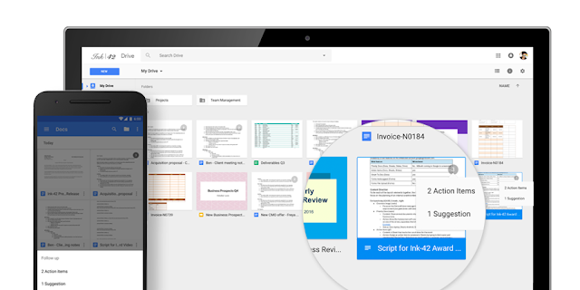 Image depicting how action items are displayed in Google Drive
