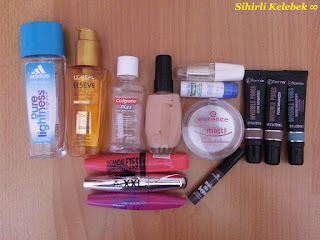 Adidas, Pure Lightness,Loreal Elseve, Colgate Plax, Avon Calming Effects, Goolden Rose, Avon Clearskin, Essence All About Matt, Flormar, Invisible Pores Pore Minimizer, Rimmel London Scandaleyes, Flormar Maxxl, Golden Rose Cat Eyes, Essence Make Me Brow