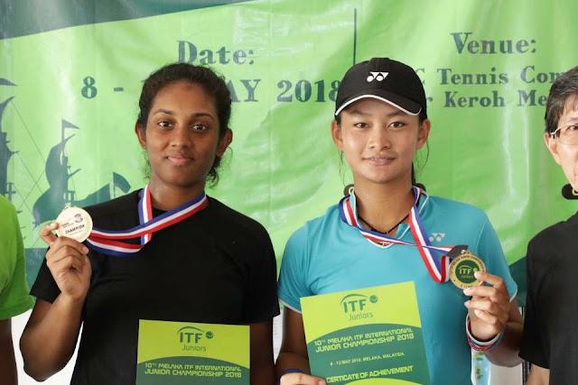 Priska Madelyn Nugroho Juara Ganda Putri 10th ITF Malacca International Junior Championship 2018