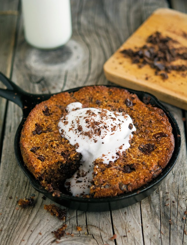 (Paleo) Skillet Chocolate Chunk Cookie with Coconut Whipped Cream