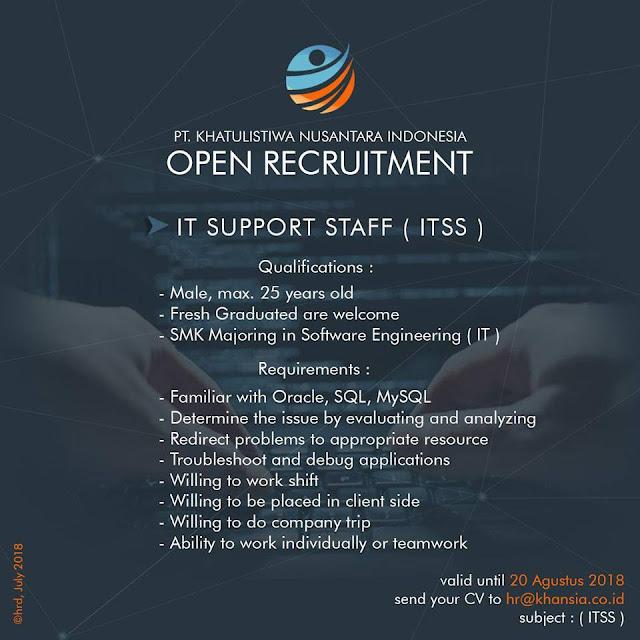 Lowongan Kerja IT Support Staff Bandung