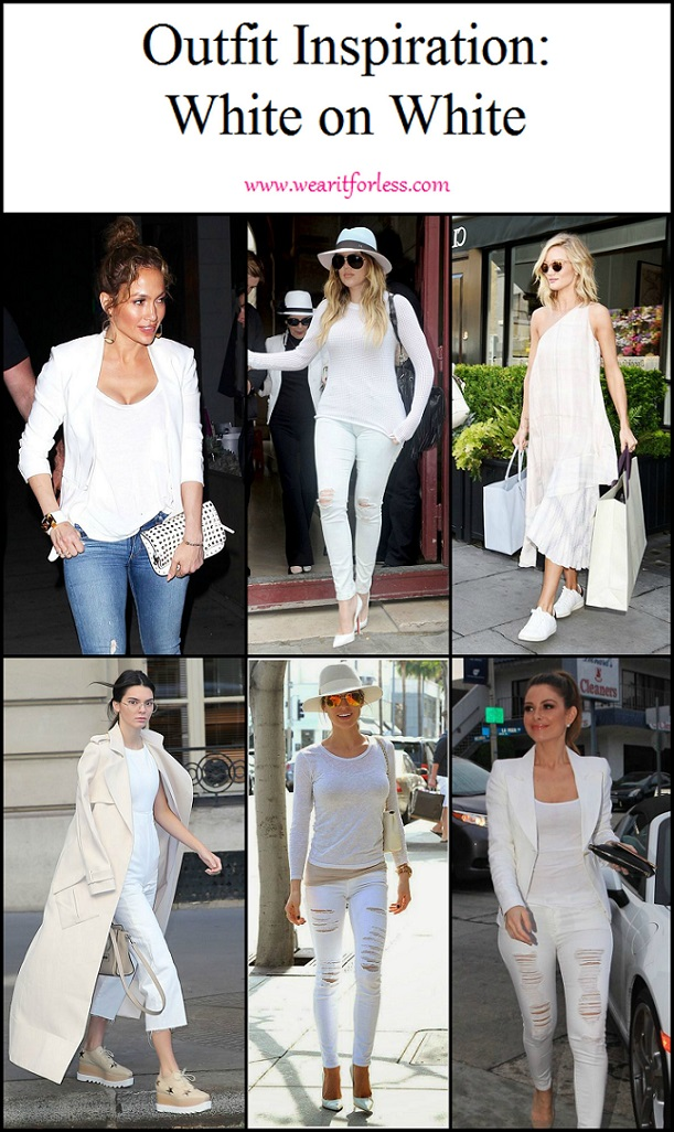 White on white outfits from celebrities: Kendall Jenner, Maria Menounos, Jennifer Lopez, Kristin Cavallari, Khloe Kardashian, Rosie Huntington-Whiteley