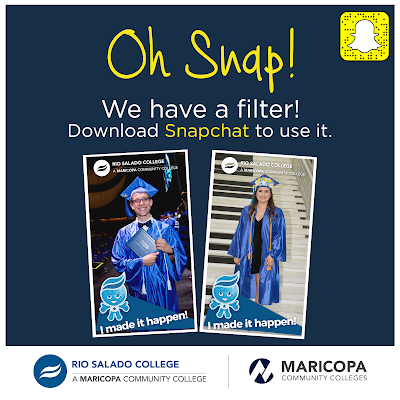 Poster for snap chat.  Images of students keyed into filter, which includes image of Rio Salado mascot, Splash with text: I made it happen.  Text: Oh Snap! We have a filter.  Download Snapchat to use it.
