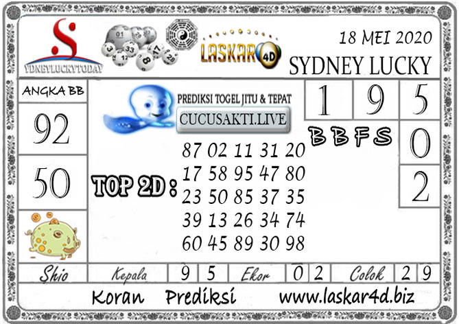 Prediksi Sydney Lucky Today LASKAR4D 18 MEI 2020