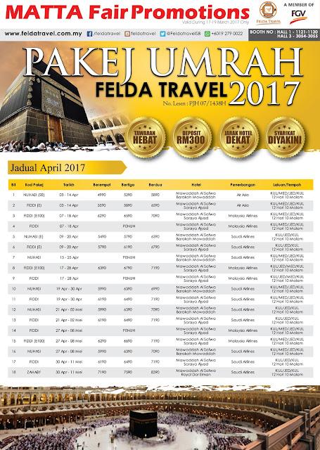 Jadual dan Tarikh Umrah April 2017- Dis 2017
