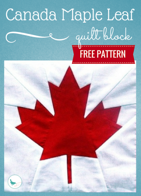 free Canada maple leaf quilt block pattern