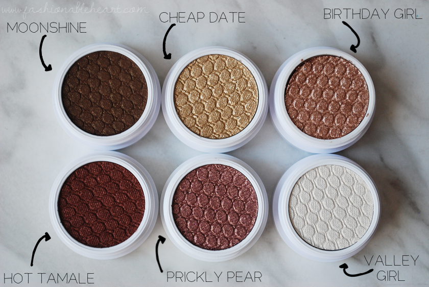 bbloggers, bbloggersca, canadian beauty bloggers, colourpop, colourpop cosmetics, party trick, eyeshadow, value set, prickly pear, moonshine, valley girl, birthday girl, cheap date, hot tamale, swatches, review, discontinued shades