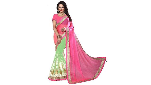 Darshita International Embellished Fashion Lycra, Net Saree  (Pink)