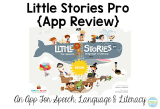 Little Stories App Review.  This a great speech and language app that allow you to focus on retell, sequencing, and wh-questions with 6-10 year old students.  You can find stories based on phonemic target too!