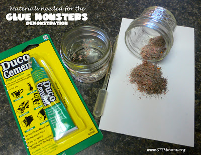 Materials Needed for Glue Monsters Demonstration: STEMmom.org