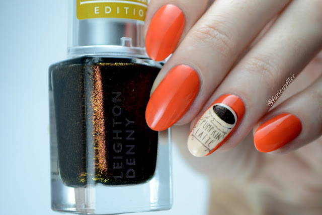 Coffee pumpkin spice latte nail art orange furious filer