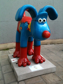 A Gromit dressed as Superman by Subway