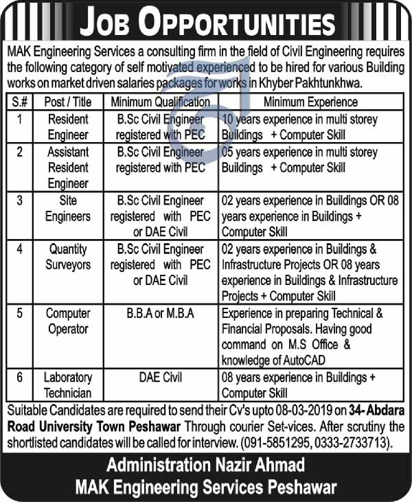 Latest Jobs in MAK Engineering Services 2019