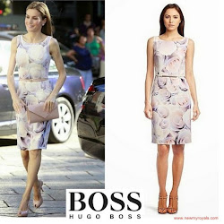 Queen Letizia Style HUGO BOSS Dress and FELIPE VARELA Clutch Bag