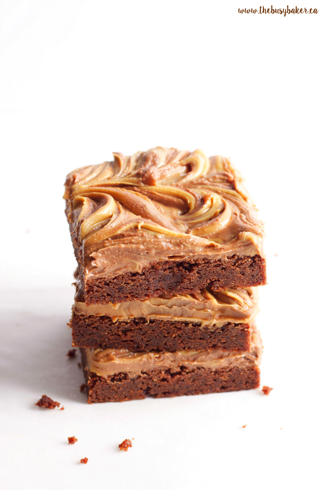 The ultimate Peanut Butter Chocolate Swirl Brownies! A super easy brownie recipe flavoured with peanut butter for the perfect sweet treat! Recipe from www.thebusybaker.ca!