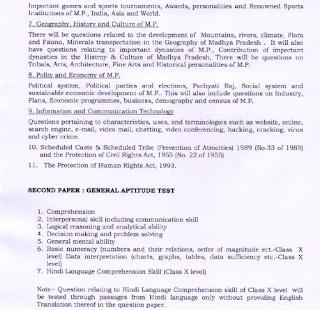 MPPSC State Services Prelims Exam Syllabus