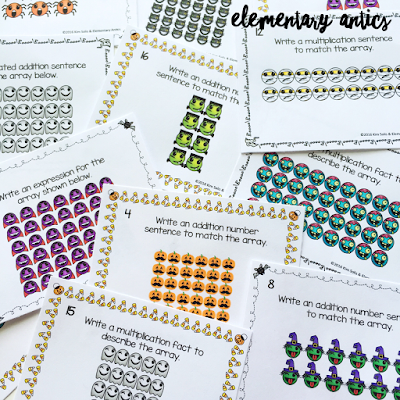 Halloween Emoji Array Task Cards are a great math center for fall!
