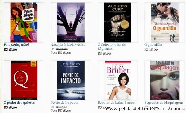 Thalita Rebouças, Augusto Cury, Dan Brown, Nicholas Sparks, Livros da Livraria Pétalas de Liberdade