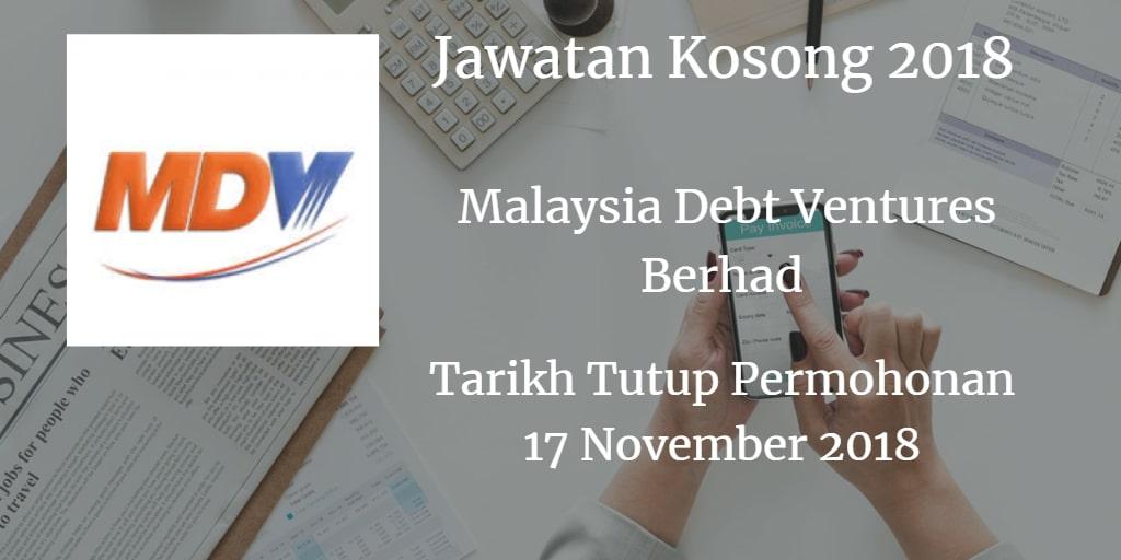 Jawatan Kosong Malaysia Debt Ventures Berhad 17 November 2018