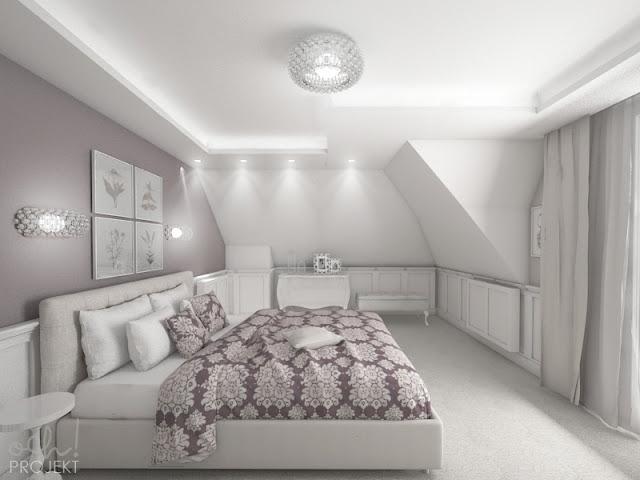 sypialnia na poddaszu w stylu shabby chic