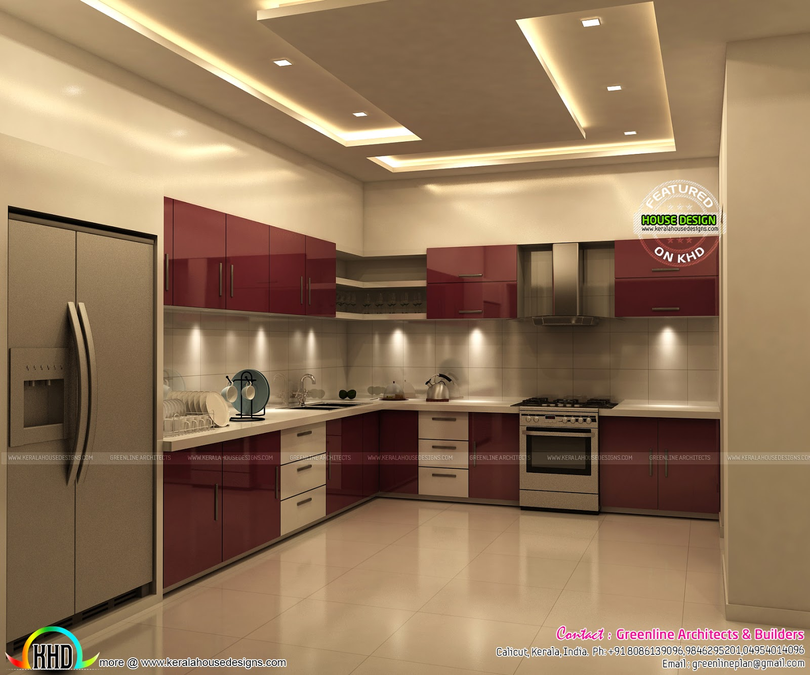 Superb kitchen and bedroom interiors kerala home design for Home plans with interior photos
