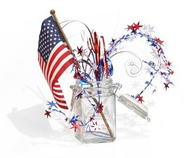 This easy Memorial Day decor pieces made with a glass jar and an American flag is DIY.
