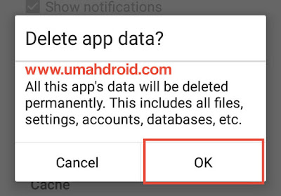 Konfirmasi Hapus Data Android Phone