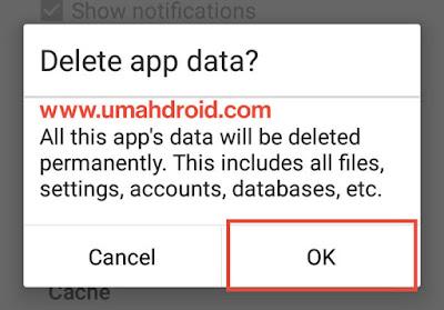 Konfirmasi Hapus Data Android Phone
