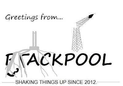 "Mock-postcard showing a fracking well, a broken tower and the caption ""shaking things up since 2012"""