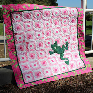 FROG QUILT-PINK QUILT-BABY QUILT-QUILT FOR SALE